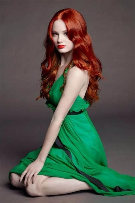 Beautiful Model And Dressed And Sour Beautiful Hair In A Gorgeous Green