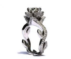 flower wedding ring blooming work of milgrain flower lotus engagement ring 1 75 carat 14k