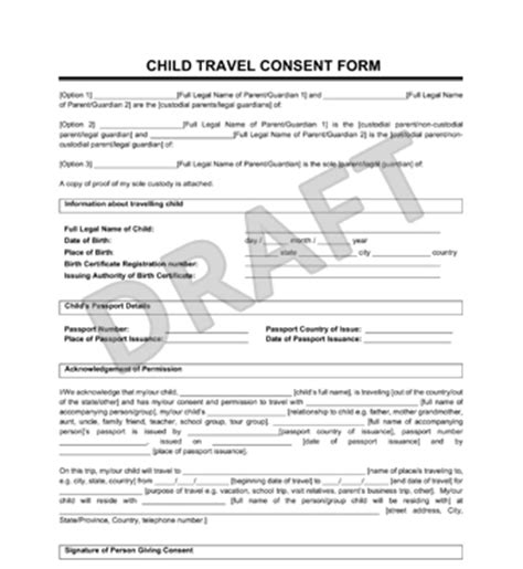 Free Consent To Change Attorney Form by Sle Child Travel Consent Form Legal Templates