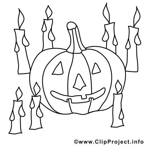 Halloween Malvorlage kostenlos mit Kerzen und Kuerbis