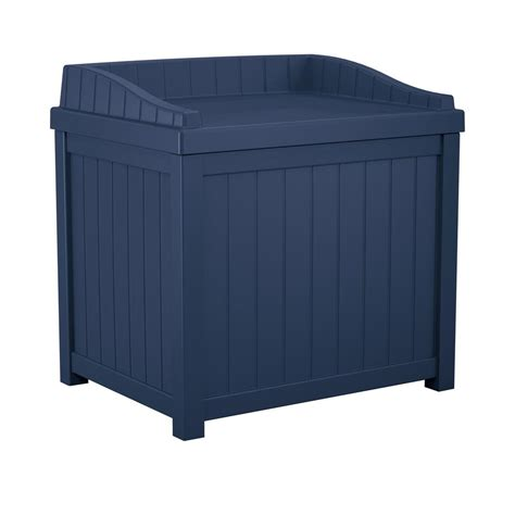 suncast 22 gallon deck box suncast 22 gal navy blue small storage seat deck box