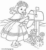 Coloring Pages Valentine Letter Colouring Sending Valentines Mailing Woman Gothic Card Sheets Embroidery Printable Pokemon Adult Idea Mailbox Sheet Dinokids sketch template