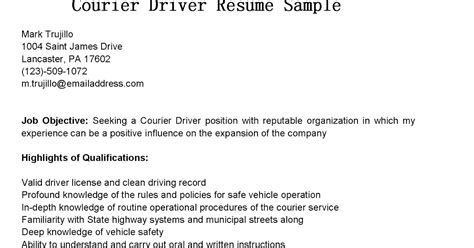 Courier Resume Objective by Driver Resumes Courier Driver Resume Sle