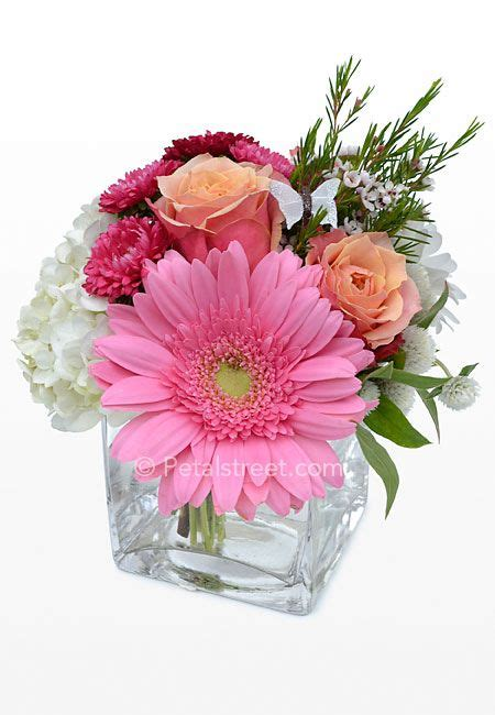 Small Floral Vases by Soft Orange Roses Hydrangea Pink Gerbera And Aster