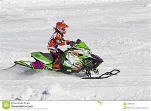 cat racing neon green arctic cat 223 snowmobile racing editorial