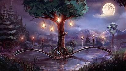Landscape Fantasy Moon Deviantart Forest Tree Sylar113