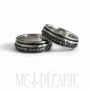 his and hers spinner ring set in silver wedding ring set With spinner wedding ring sets