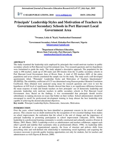 principals leadership styles  motivation