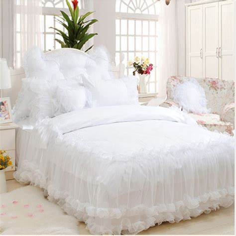 Lace Coverlet Bedding by Luxury Snow White Lace Bedspread Princess Bedding Set