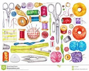 Big Set Of Various Watercolor Sewing Tools. Sewing Kit ...