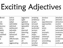 Exciting Adjectives List by MissCResources - Teaching ...