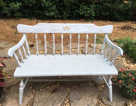vintage chalk painted deacon bench distressed country
