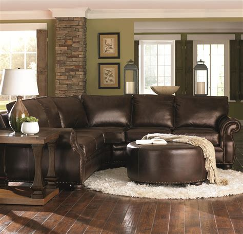 chocolate brown sofa decorating ideas chocolate brown leather sectional w round ottoman home