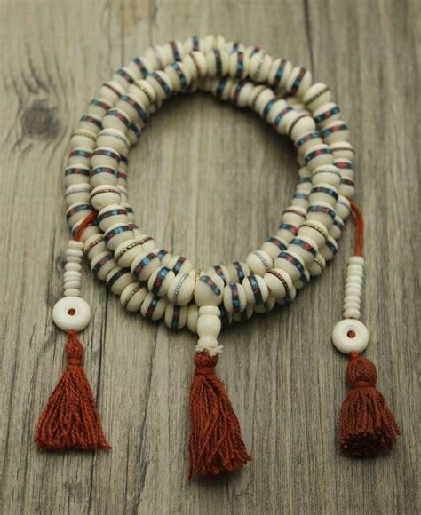 108 Beads Meditation Mala with Counters, Bone Inlay