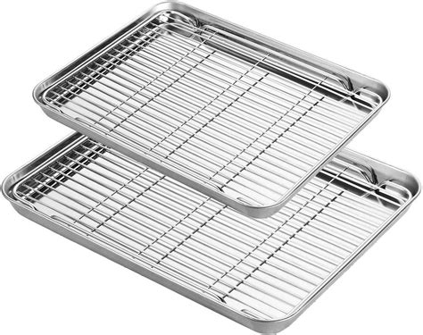 sheet rack pans cookie stainless steel baking tray cooling amzn rust removable