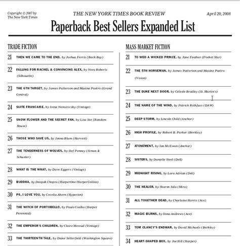 Best Seller List The New York Times Best Seller List