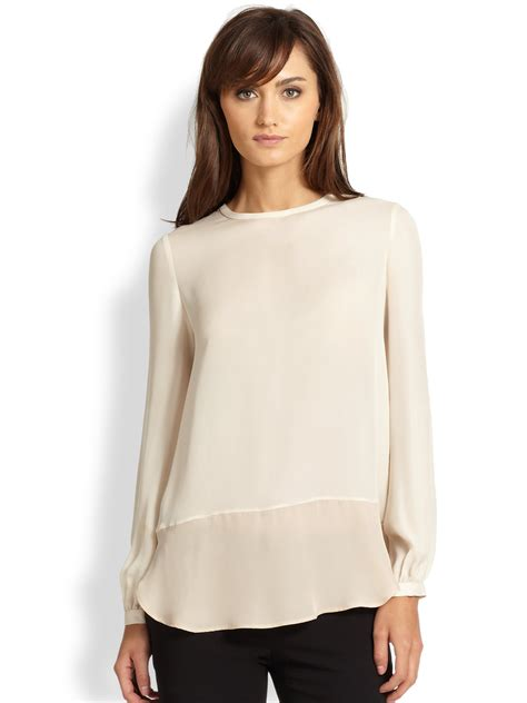 haute hippie blouse haute hippie silk splitback blouse in beige white