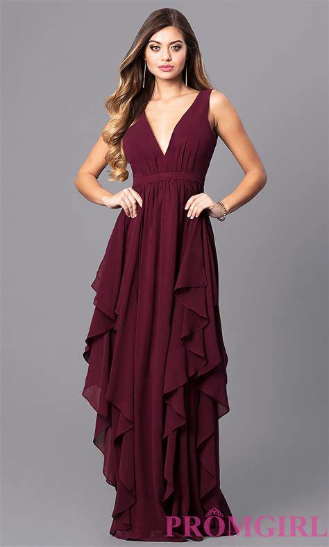 Ruffled Wine Red Long V-Neck Prom Dress - PromGirl