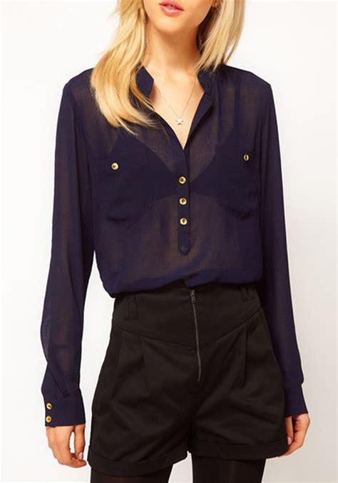 navy blouses navy blue pockets band collar chiffon blouse blouses tops