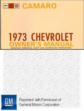 service repair manual free download 1973 chevrolet camaro parking system 1973 chevrolet camaro owner s manual gm part no 328897a