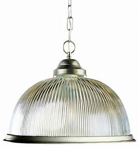 One light brushed nickel clear ribbed halophane glass down