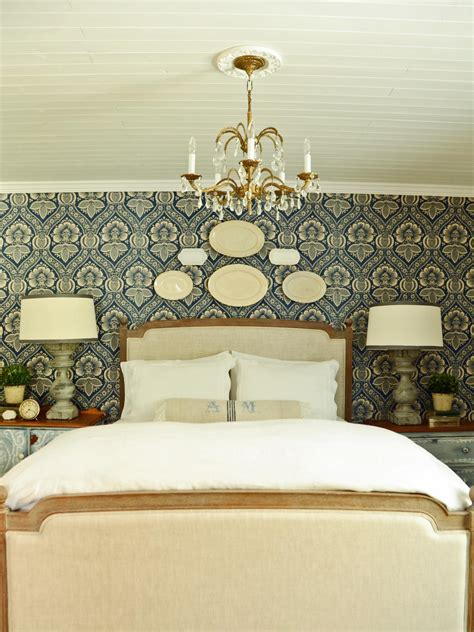 french country blue  white bedroom  chandelier hgtv