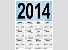Calendario verticale grafico del 2014