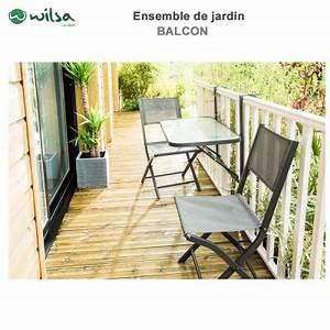 Salon Jardin Balcon : mobilier de jardin balcon 2 places anthracite600102 wilsa garden ~ Teatrodelosmanantiales.com Idées de Décoration