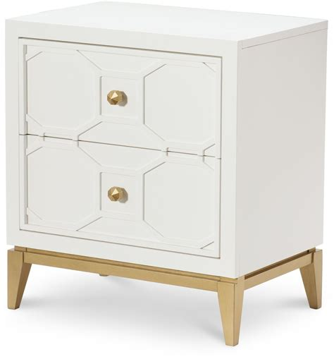 nightstand with drawers uptown white and gold stand from racheal home