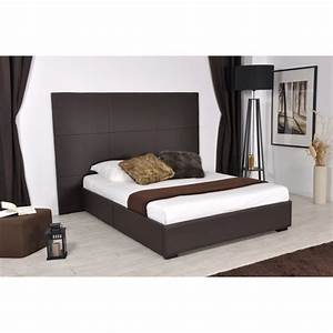 Skin lit 160x200 pu choco avec grande tete de lit achat for Chambre design avec matelas ecus