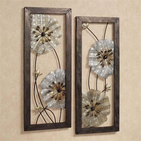 malacia openwork floral metal wall art set