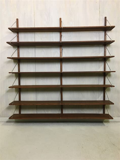 Mounted Shelving Unit by Wall Mounted Walnut Shelving Unit In Style Of Poul