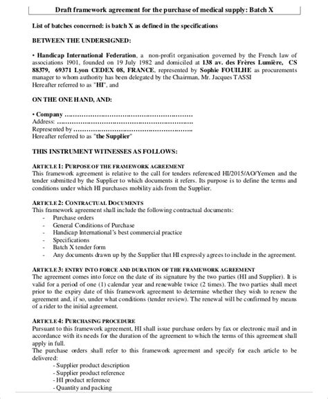 draft agreement template 9 framework agreement templates free sle exle