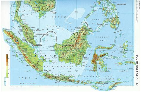 large detailed topographical map  malaysia malaysia