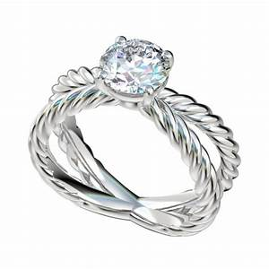 rope cross shank solitaire engagement ring With rope wedding ring