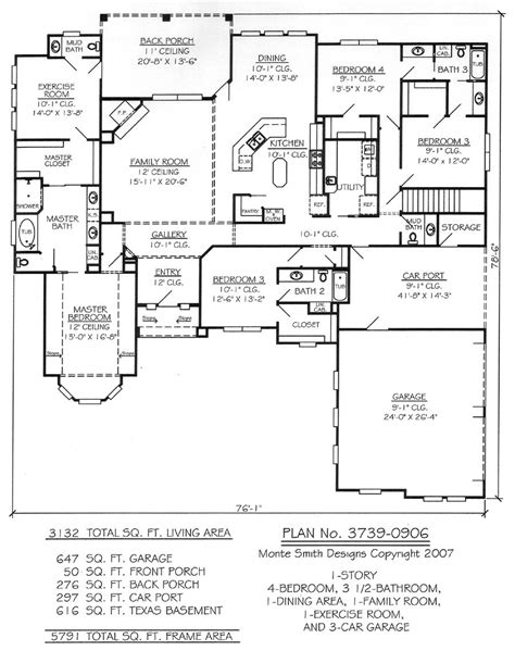 Living Room Floor Exercises by 1 Story 4 Bedroom 3 5 Bathroom 1 Dining Room 1 Family