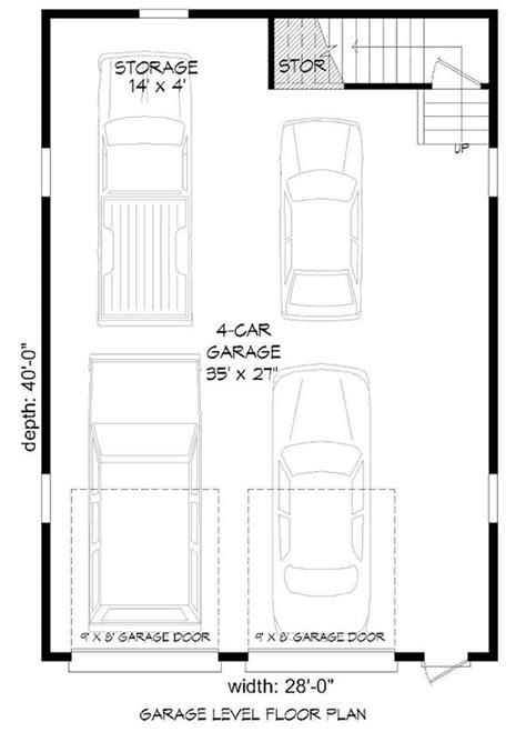 4-Car Tandem Garage with Man-Cave Above - 68466VR