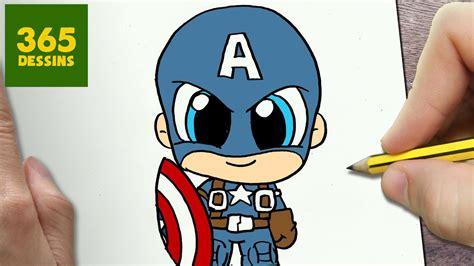 comment dessiner captain america kawaii etape par etape