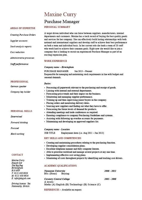 purchasing manager resume sle the best letter sle