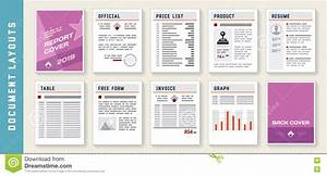 Document Report Layout Templates Set Stock Vector