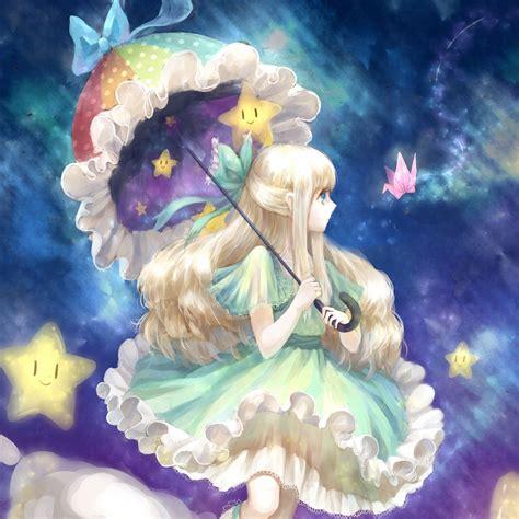 wallpaper  girl anime art umbrella