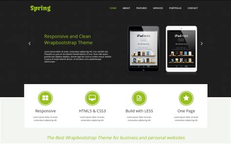 bootstrap single page template one page responsive template portfolios resumes wrapbootstrap
