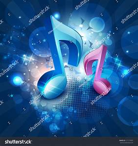 3d Musical Notes On Shiny Blue Stock Vector 111174581 ...