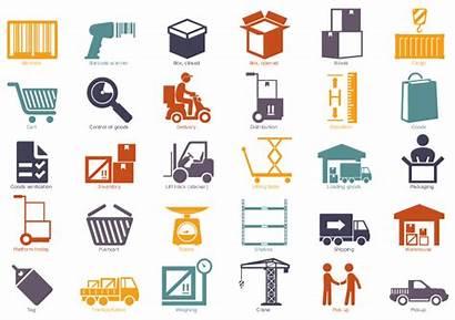 Icons Warehouse Workflow Logistic Elements Flowchart Diagram