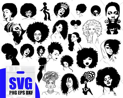 Our vector images come in 4 formats ready to use. Afro Woman svg Bundle Black woman svg African American ...
