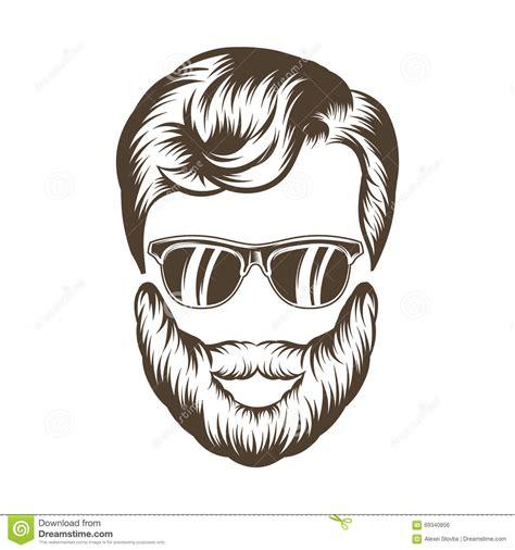 Hipster Man Hair And Beard. Hand Drawn Vector Illustration ...