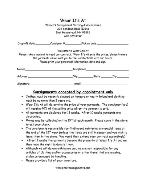 28 consignment store agreement form consignment