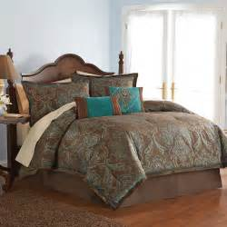 jacquard paisley 4pc king comforter set with brown turquoise damask bedding sets and