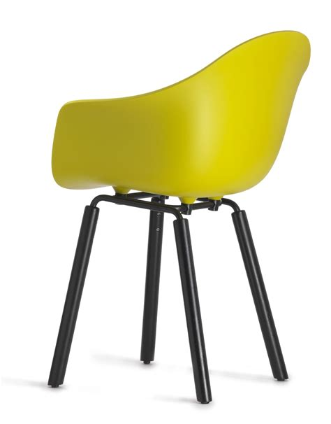 chaise jaune moutarde ta armchair wood legs white wood legs by toou