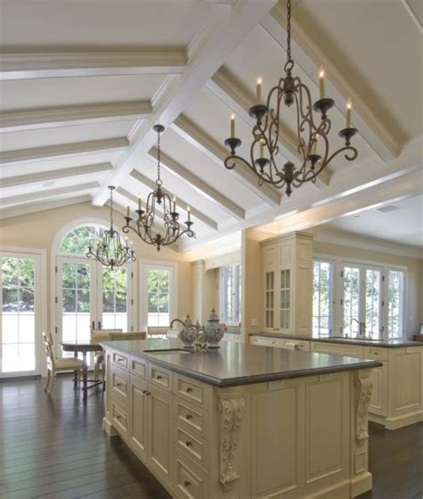 vaulted ceiling  box beams kitchen ideas pinterest
